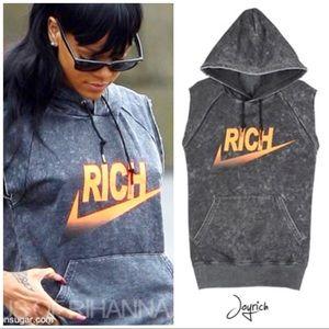 Joyrich gray cut off hoodie sleeveless sweater